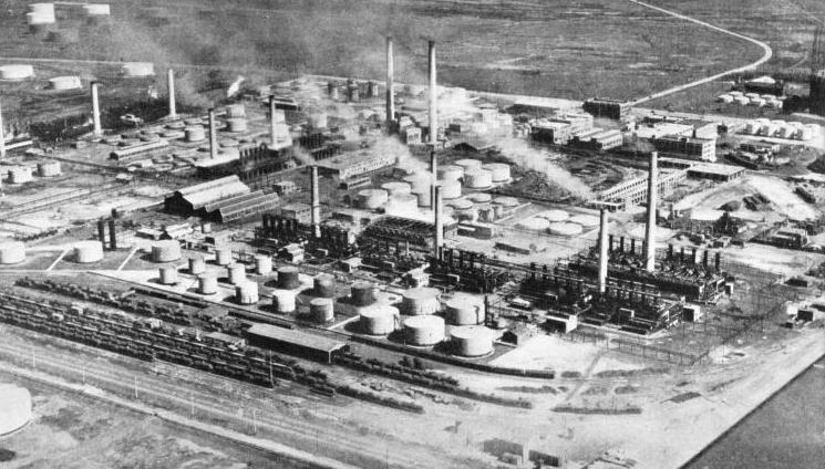 A GREAT OIL REFINERY at East Chicago, Illinois
