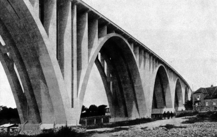 CONCRETE ARCH VIADUCTS form the approaches to the bridge across the Little Belt
