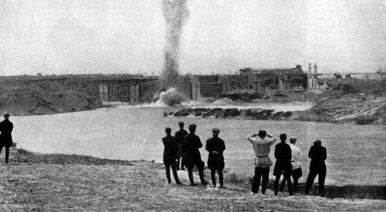 BLASTING THE TEMPORARY CROSSDAMS near the Ivankovo Barrage