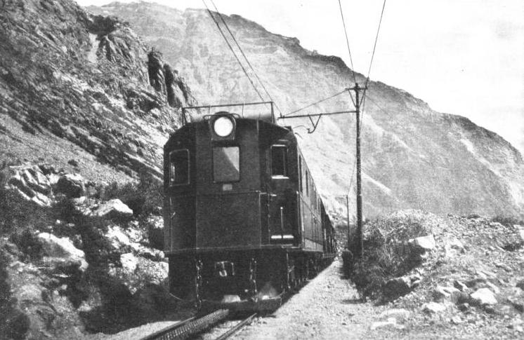 ELECTRIC TRAIN ON THE CHILIAN TRANSANDINE RAILWAY