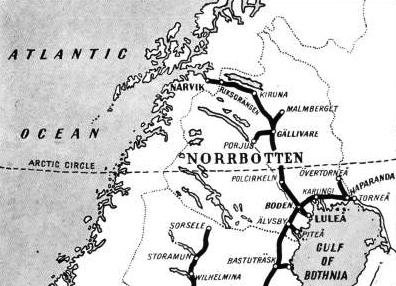 ACROSS THE ARCTIC CIRCLE to Narvik, on the Ofot Fjord, Norway, the Iron Ore Railway affords a direct outlet from the iron ore districts of Lapland at all times of the year