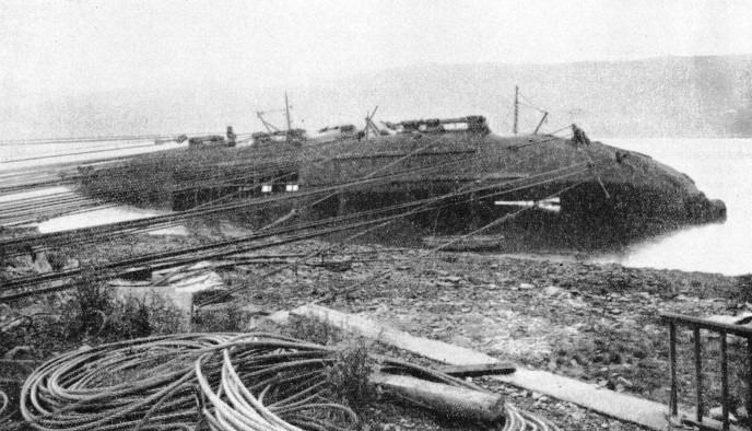 TEN MILES OF STEEL CABLES were used to haul the wrecked dredger Silurus into an upright position