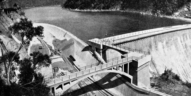 TWO SPILLWAYS were provided, one at either side of the Burrinjuck Dam