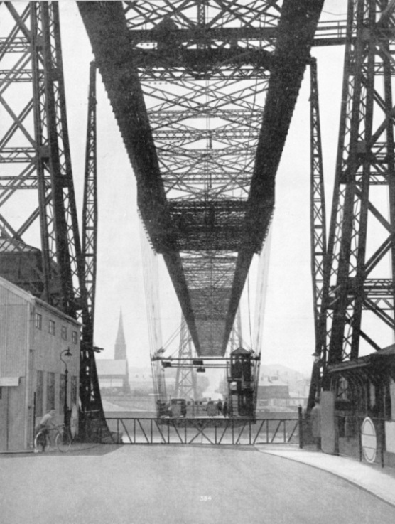 THE SUSPENDED STIFFENING SPAN on the transporter bridge at Runcorn
