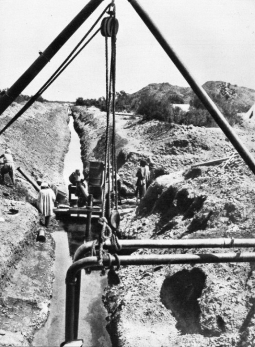 A well and a pipe line trench at Khor-ar-Baat, near Port Sudan