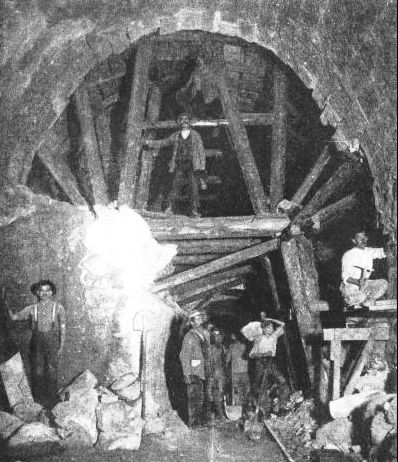 TIMBER SUPPORTS were used temporarily to strengthen the Simplon Tunnel as it was driven
