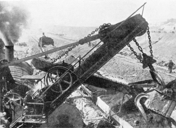 EXCAVATION by a steam shovel on the Moskva-Volga Canal