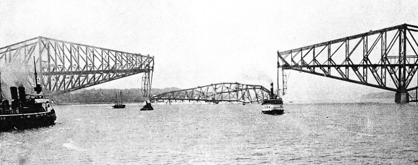 THE COLLAPSE OF THE CENTRAL SPAN of the Quebec Bridge in September 1916