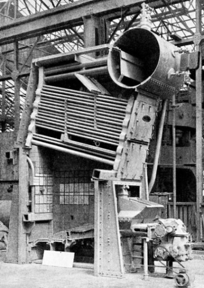 SECTION THROUGH A MARINE BOILER of the Babcock and Wilcox water tube type