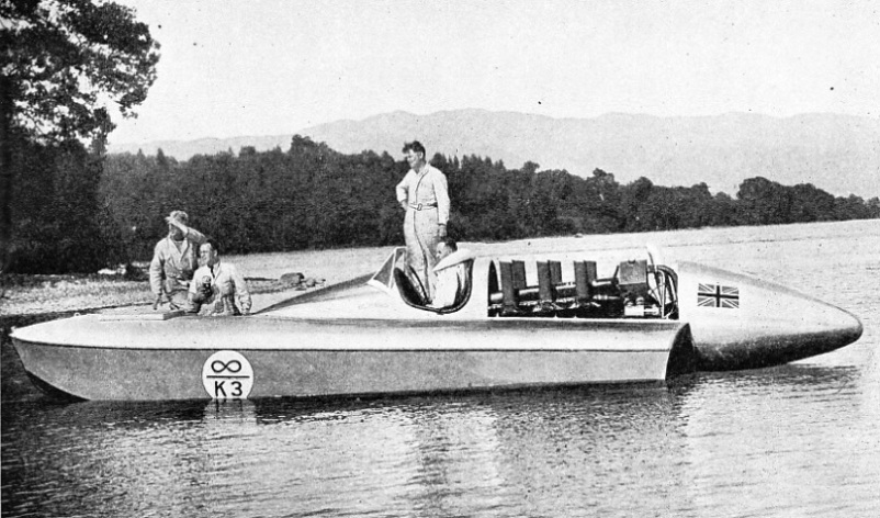 SIR MALCOLM CAMPBELL AT THE WHEEL of his hydroplane