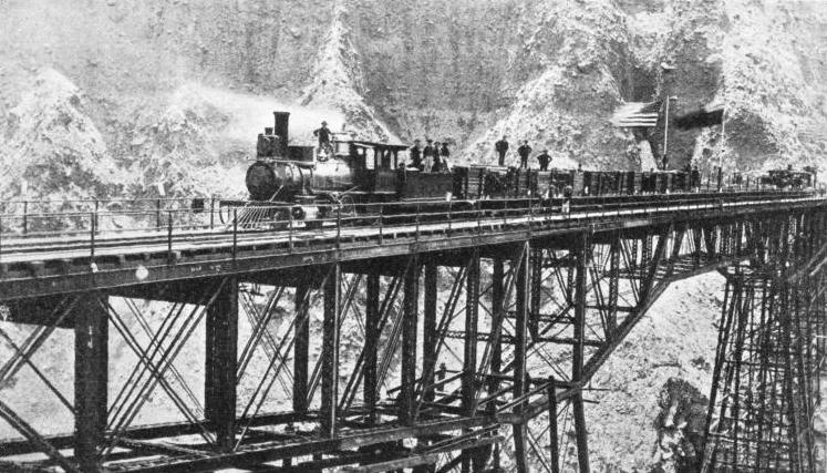 OPENING OF THE OLD BRIDGE ACROSS THE VERRUGAS CANYON of the Peruvian Central Railway