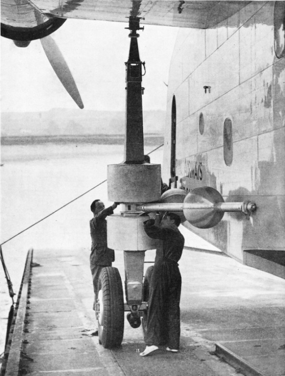 THE HUGE ADJUSTABLE LAUNCHING WHEELS of the Caledonia