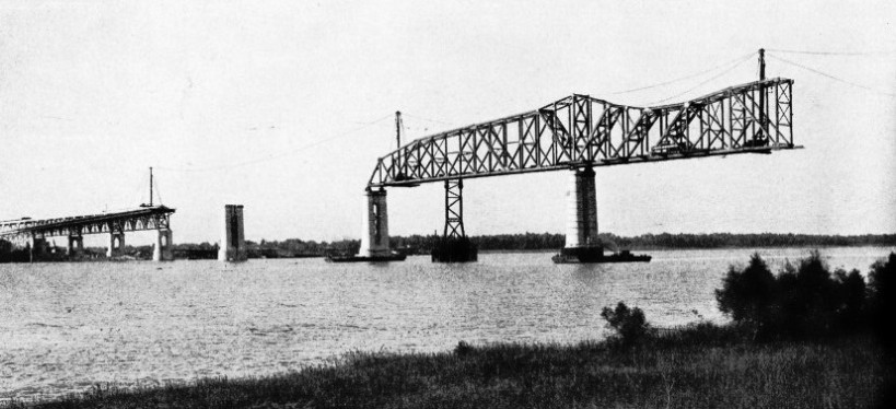 THE CENTRAL SPANS of the Huey Long Bridge during construction