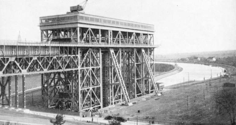 A TOWERING STRUCTURE OF STEEL of the Niederfinow barge lift
