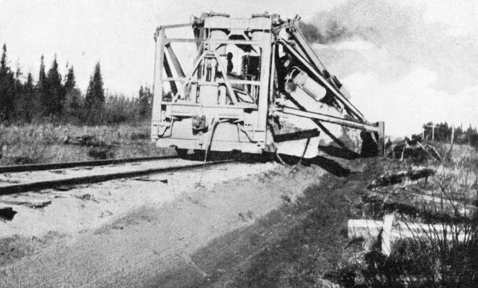 DITCHING MACHINE AT WORK during the building of the Hudson Bay Railway