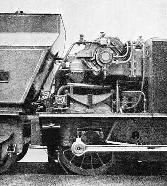 NEAR SIDE OF LEADING END of the condenser vehicle belonging to the Lungstrom turbine locomotive