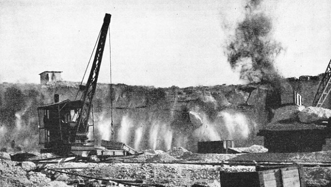 QUARRYING THE STONE which was used for building the breakwaters at Haifa