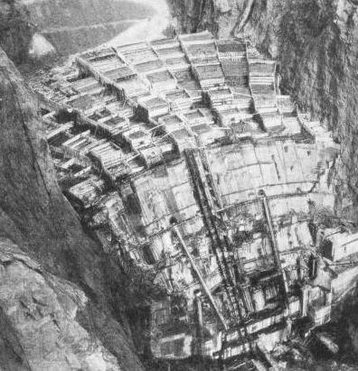 THE DOWNSTREAM FACE OF THE BOULDER DAM