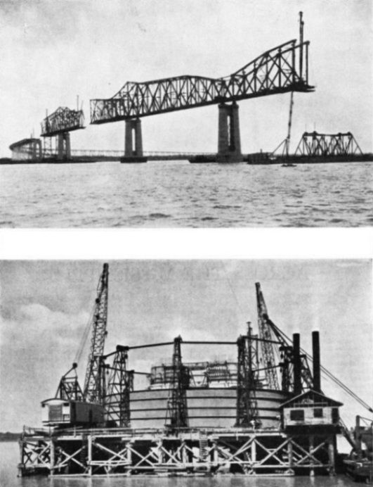 Building the Huey Long bridge across the Mississippi