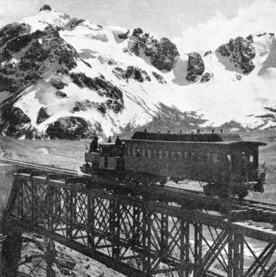 A TRAIN ON THE OLD VISCAS BRIDGE on the Peruvian Central Railway