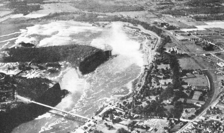 AN AERIAL VIEW OF THE NIAGARA RIVER AND FALLS