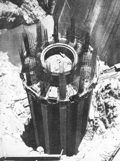 ONE OF THE FOUR INTAKE TOWERS of the Boulder Dam