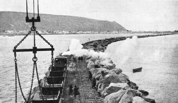 THE BREAKWATER FROM RAS-EL-KERUM, Palestine