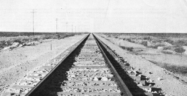 ACROSS THE NULLARBOR PLAIN, the Australian Transcontinental Railway has one stretch of 300 miles without a curve