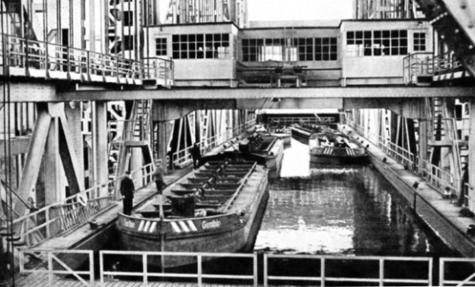 THE IMMENSE TROUGH in which barges are raised from one level of the Hohenzollern Canal to another