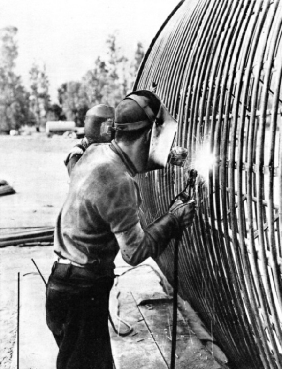 WELDING A REINFORCEMENT FRAME for a section of the Colorado aqueduct