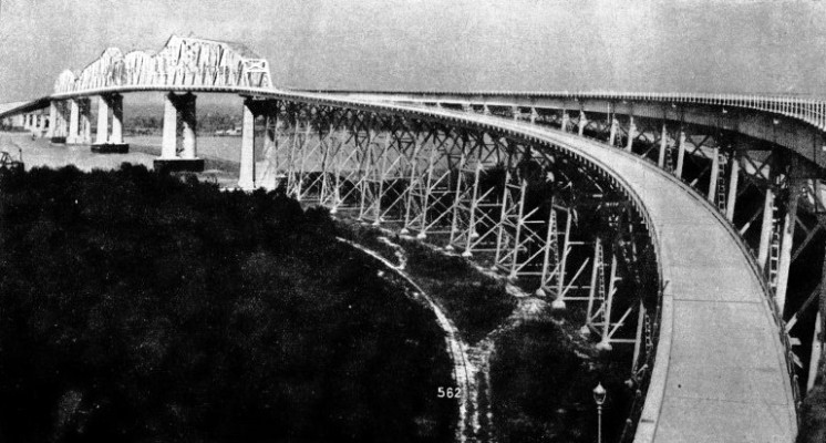 THE COMPLETED HUEY LONG BRIDGE across the River Mississippi