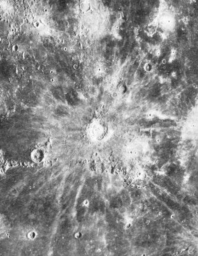 SEEN THROUGH THE HOOKER TELESCOPE, the topography of the moon can be closely examined