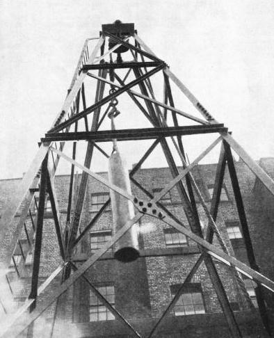 SHEER-LEGS, or derrick, used at the top of a borehole for operating the tackle