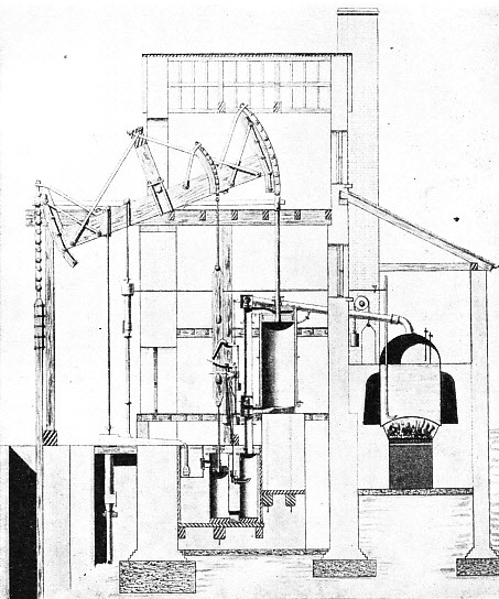 SINGLE-ACTING PUMPING ENGINE used for draining mines in Cornwall