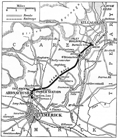 Map of the River Shannon power scheme