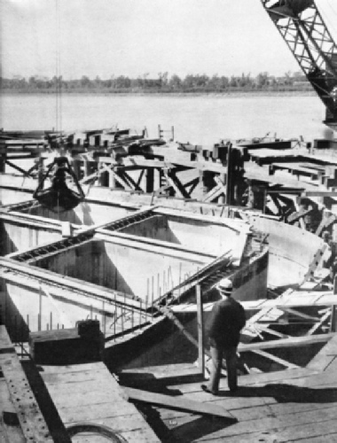 Foundations for the Huey Long Bridge