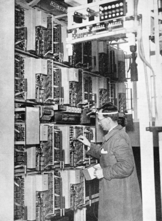 THE COMPLEXITY OF THE AUTOMATIC TELEPHONE SYSTEM is shown by the apparatus at a modern telephone exchange