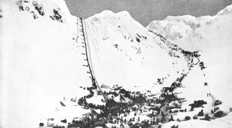Two lines of gold-seekers climbing over the Chilcoot Pass on their way to the Klondike River