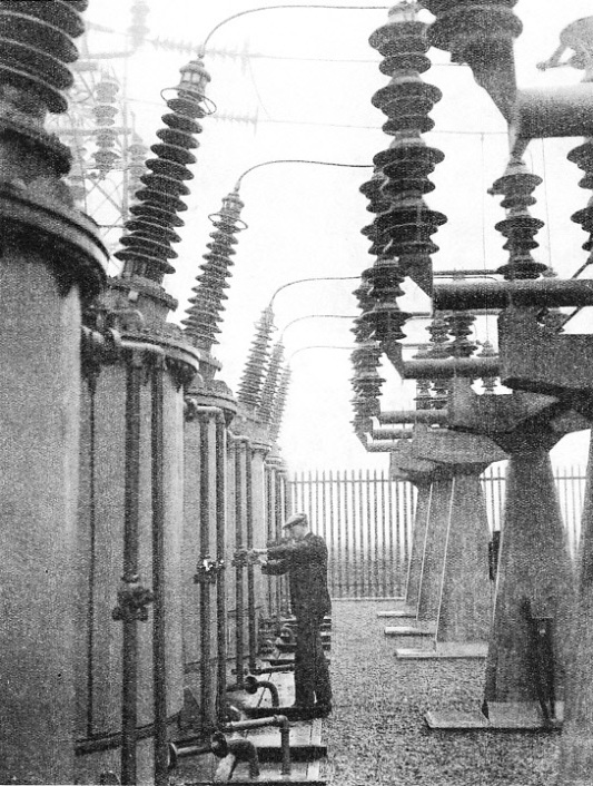 OIL CIRCUIT-BREAKERS at the sub-station of the Grid at Southwick, Sussex