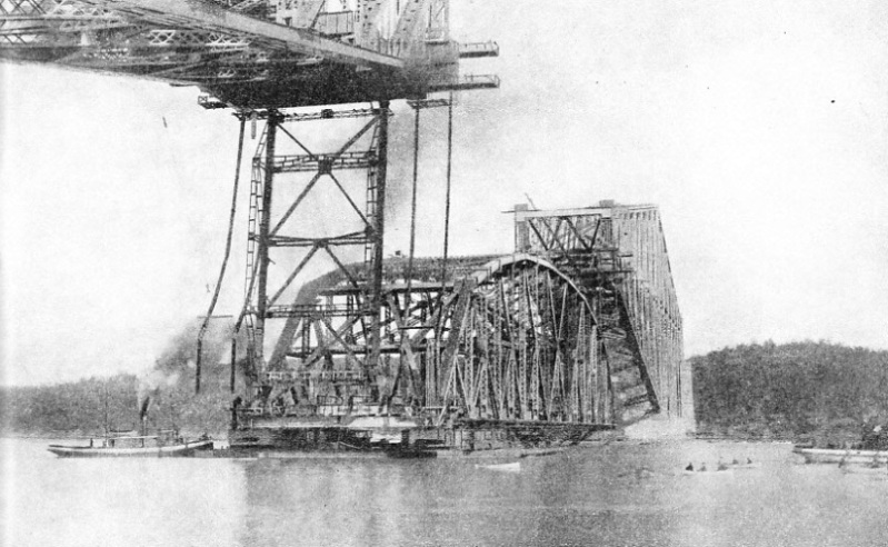 PREPARING TO RAISE THE CENTRAL SPAN of Quebec Bridge