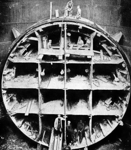 THE GREAT SHIELD designed by Sir Ernest Moir, for tunnelling under rivers