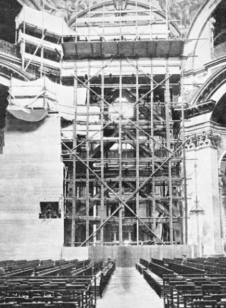 STRENGTHENING THE PIERS on which the weight of the dome of St. Paul's Cathedral rests