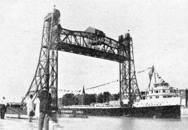 A vertical lift bridge across the Welland Ship Canal