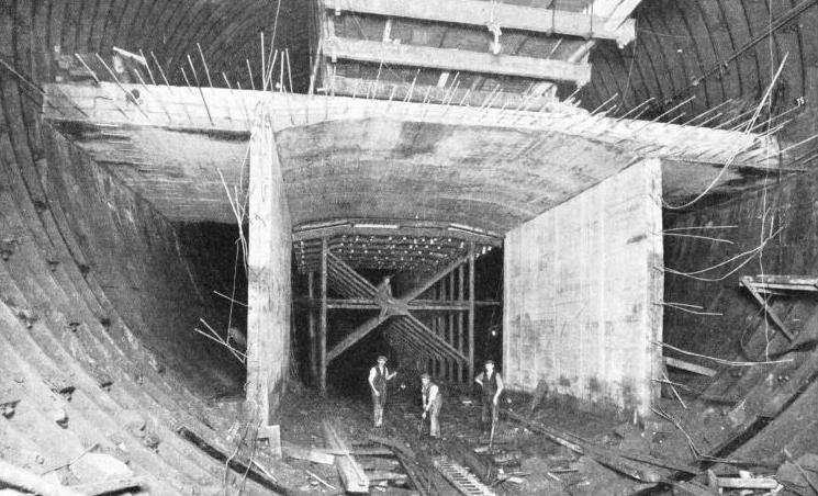 BUILDING THE ROADWAY through the Mersey Tunnel