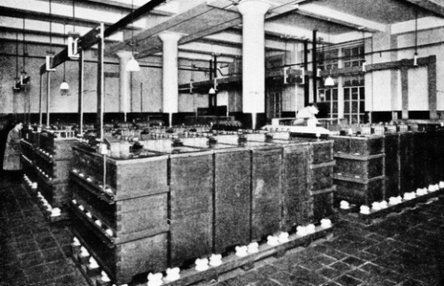 A TYPICAL BATTERY ROOM supplying the current required by an automatic telephone exchange