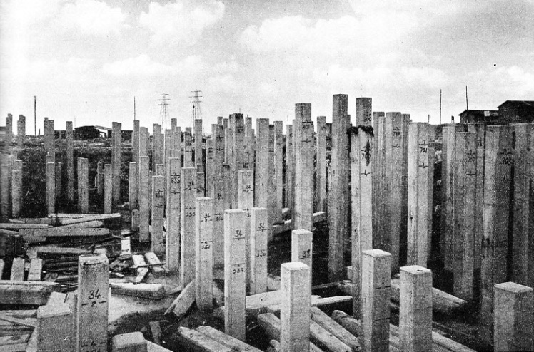 REINFORCED CONCRETE PILES used for the foundations of the great electricity generating station at Barking, Essex