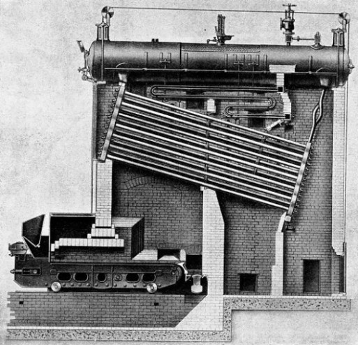 SECTIONAL DRAWING OF WATER TUBE BOILER made by Babcock and Wilcox