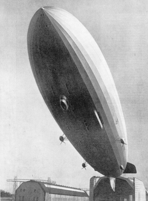 THE FOUR ENGINE CARS of the airship Hindenburg are suspended from the central section of her hull