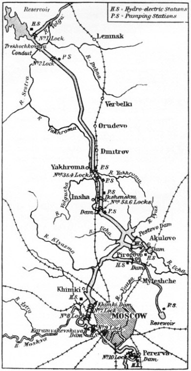 Map of the Moskva-Volga Canal