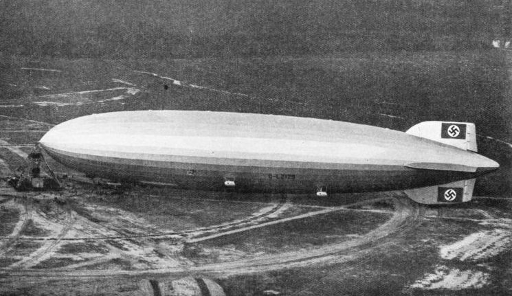 The airship Hindenburg at Lakehurst near New York